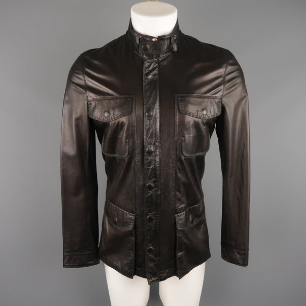 ELIE TAHARI Chest Size 38 Black Solid Leather Zip & Snaps Jacket