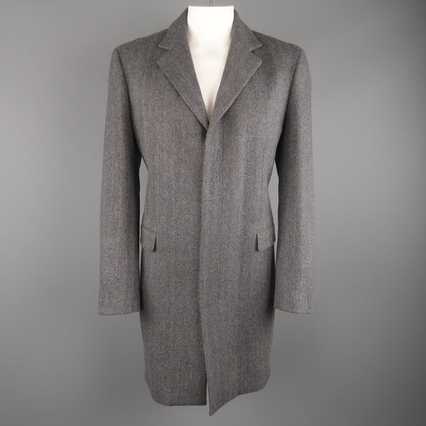 ELIE TAHARI L Grey Herringbone Wool / Cashmere Notch Lapel Over Coat