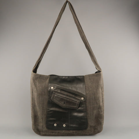 9a6d8616d327 EMPORIO ARMANI Charcoal Coated Canvas Leather Patch Oversized Tote Bag
