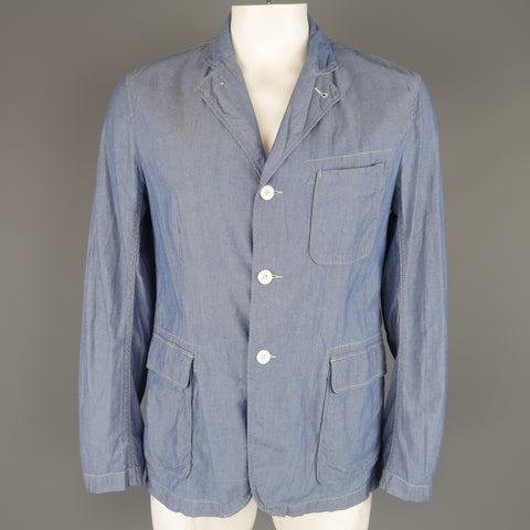 ENGINEERED GARMENTS L Light Blue Contrast Stitch Chambray Pocket Sport Coat - Sui Generis Designer Consignment