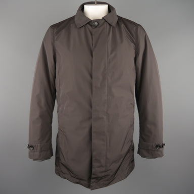 EREDI PISANO L Brown Collared 2 in 1 Detachable Liner Car Rain Coat