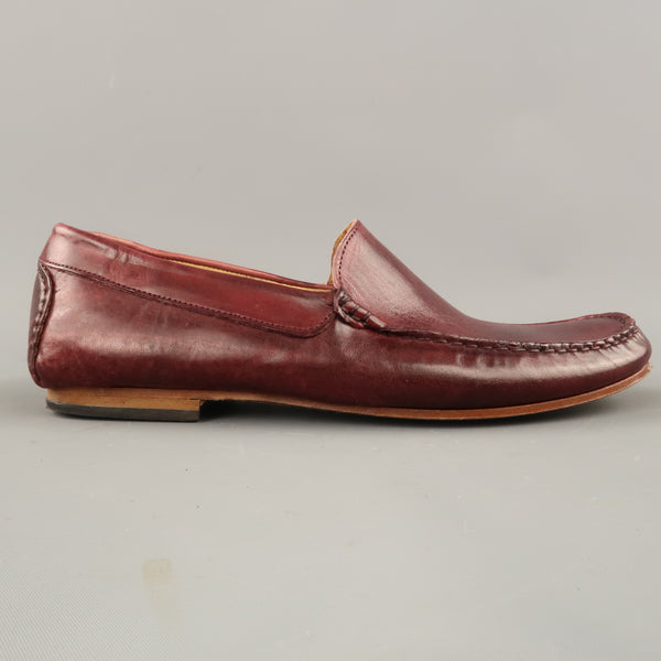 EREDI PISANO Size 7 Burgundy Leather Slip On Top Stitch Loafers