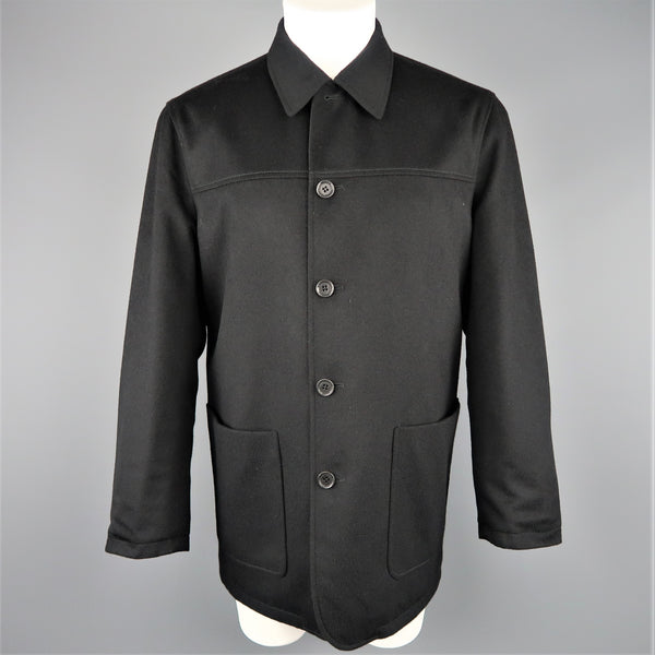 ERMENEGILDO ZEGNA 38 Black Solid Wool / Cashmere Reversible Car Coat