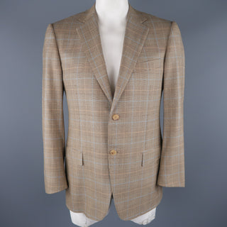 ERMENEGILDO ZEGNA 40 Regular Brown Glenplaid Wool Sport Coat
