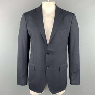 ERMENEGILDO ZEGNA 42 Long Navy Solid Wool Notch Lapel  Sport Coat