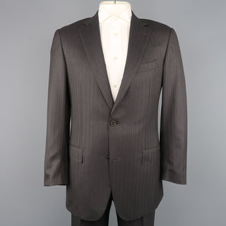 ERMENEGILDO ZEGNA 42 Long Taupe Charcoal Stripe Wool 2 pc Suit