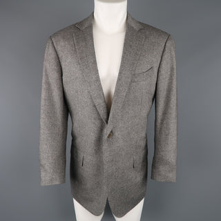 ERMENEGILDO ZEGNA 44 Grey Heather Wool / Cashmere Notch Lapel Sport Coat