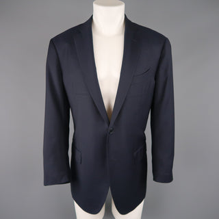 ERMENEGILDO ZEGNA 44 Regular Navy Solid Wool Notch Lapel Sport Coat - Sui Generis Designer Consignment