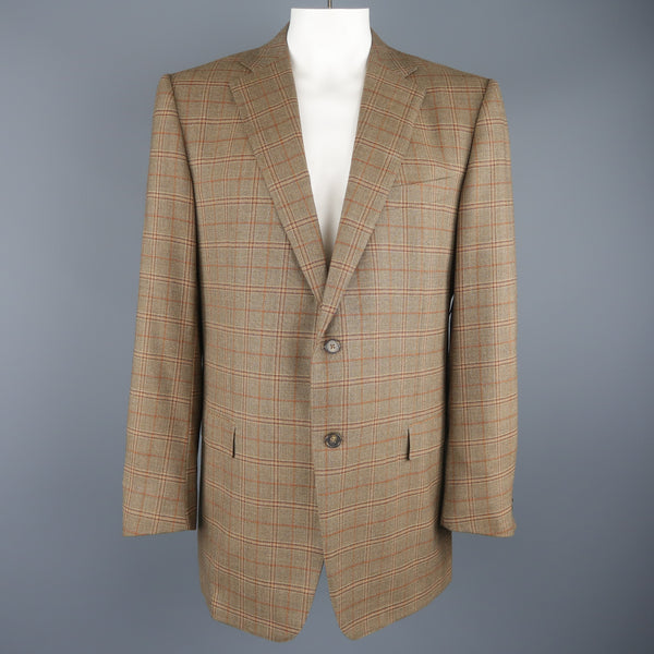 ERMENEGILDO ZEGNA 48 Taupe Window Pane Plaid Wool Notch Lapel Sport Coat