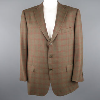 ERMENEGILDO ZEGNA 50 Regular Olive Plaid Wool Sport Coat