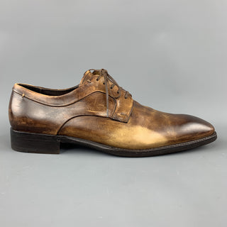 ERMENEGILDO ZEGNA Size 10.5 Brown Antique Effect Leather Lace Up Dress Shoes