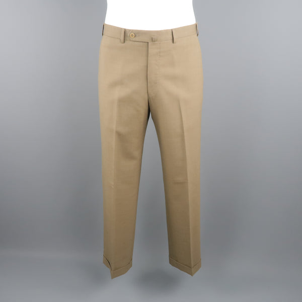 ERMENEGILDO ZEGNA Size 33 Olive Solid Wool Dress Pants
