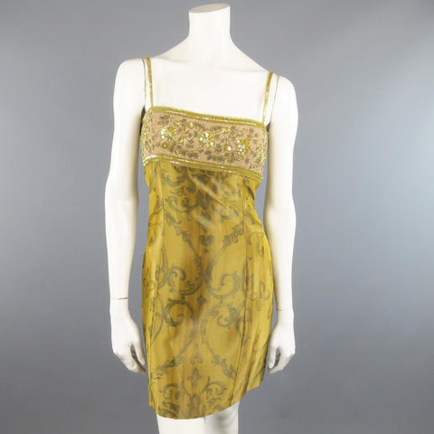 ESCADA COUTURE Size 10 Metallic Gold Brocade Sequin Bust Cocktail Dress
