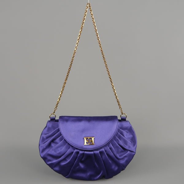 ESCADA Purple Pleated Silk Satin Gold Logo Evening Handbag