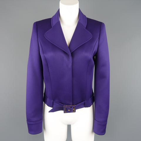 ESCADA Size 4 Purple Cropped Pointed Lapel Belted Jacket