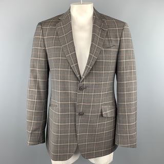 ETRO 40 Grey Plaid Wool / Elastane Notch Lapel  Sport Coat