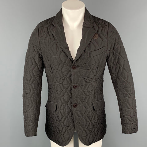ETRO Chest Size M Brown Quilted Polyester Notch Lapel Jacket