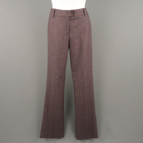 ETRO Size 2 Purple Wool Stretch Tweed Wide Leg Dress Pants