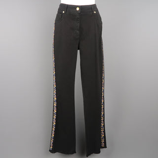 ETRO Size 29 Black Stretch Cotton Floral Trim Boot Cut Jeans