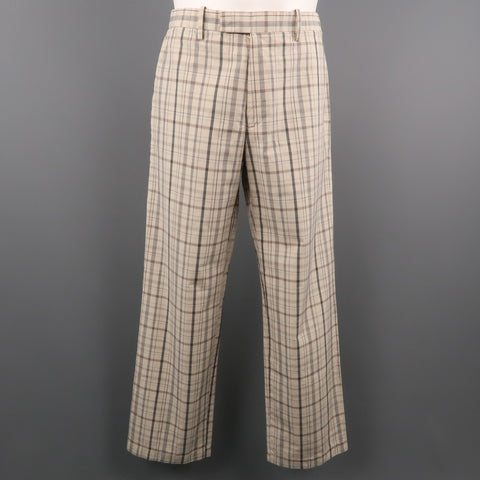 ETRO Size 32 Beige & Black Plaid Cotton 29 Zip Fly Casual Pants