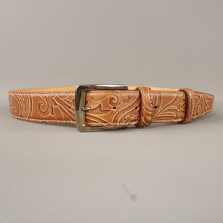 ETRO Size 34 Tan Leather & Silver Tone Buckle Belt