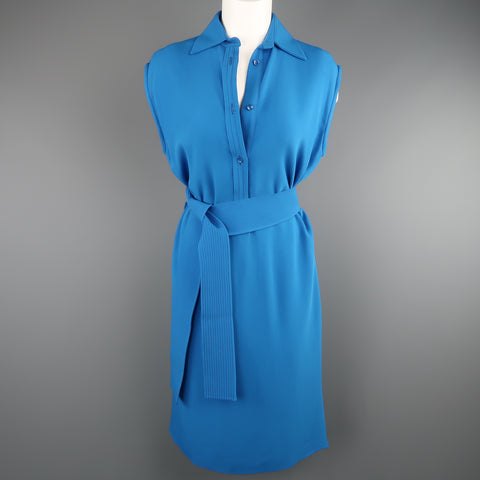 ETRO Size 4 Aqua Blue SLeeveless Half Button Sash Belt Dress
