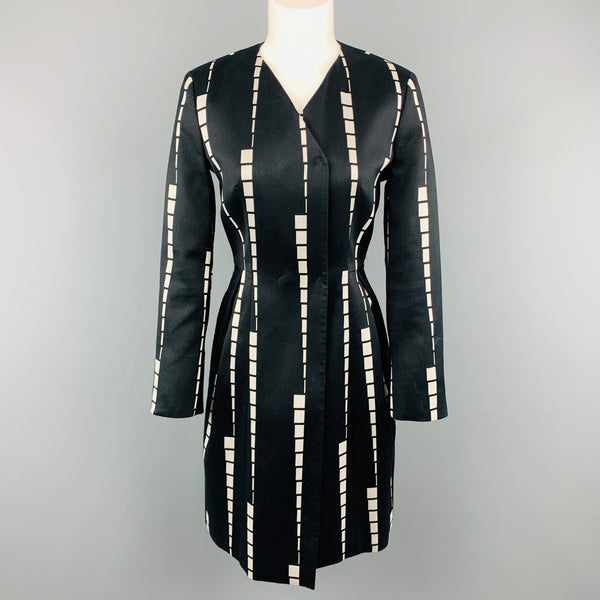 ETRO Size 6 Black & White Geometric Stripe V Neck PLeat Skirt Coat