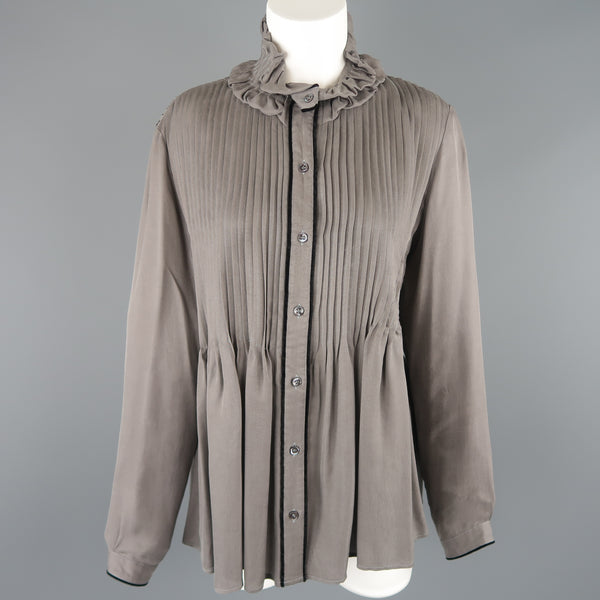 ETRO Size 6 Grey Pleated Velvet Trim Ruffle Blouse