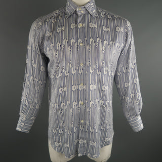 ETRO Size L Navy & White Print Cotton Long Sleeve Shirt