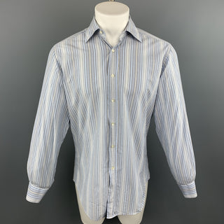 ETRO Size M Blue & Grey Stripe Cotton Button Up Long Sleeve Shirt