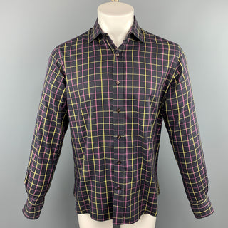 ETRO Size M Purple Plaid Cotton Button Up Long Sleeve Shirt