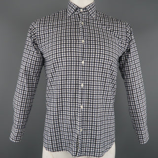 ETRO Size S Navy Checkered Cotton Button Up Long Sleeve Shirt
