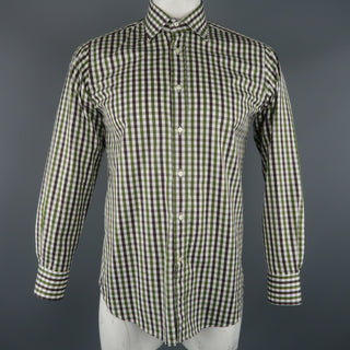 ETRO Size S White & Green Checkered Cotton Button Up Long Sleeve Shirt