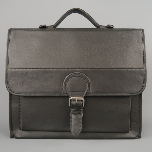 EUROPEAN NATURAL LEATHER BAGS Black Leather Briefcase With Strap