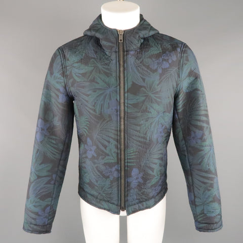 EXIBIT 40 Navy & Green Hawaiian Floral Nylon Blend Hooded Jacket