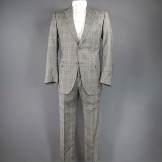 FENDI 44 Regular Glenplaid Two Button Grey Wool 33 28 Suit