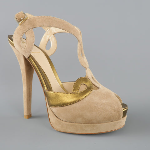 FENDI Size 9 Taupe Suede & Metallic Gold Leather Peep Toe Platform Sandals