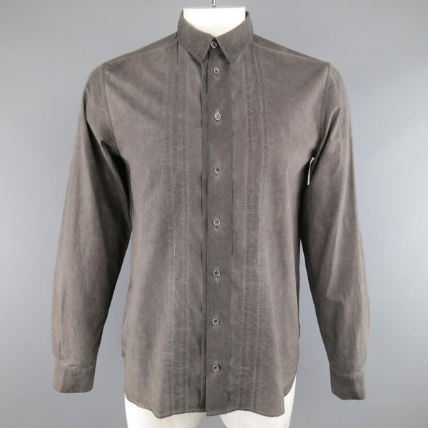 FORME 3'3204322896  Size S Charcoal Washed Dyed Cotton Long Sleeve Shirt