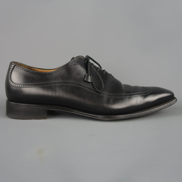 FRANCESCHETTI Size 12 Black Leather Brogue Medallion Lace Up