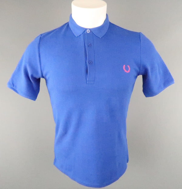 FRED PERRY Size S Royal Blue Solid Cotton Buttoned POLO Shirt