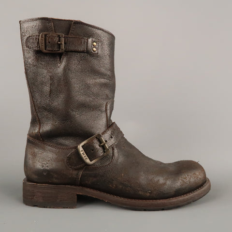 FRYE Size 7.5 Brown Leather Motorcycle Boots