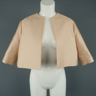 GIAMBATTISTA VALLI Size XS Pink Cotton / Silk Cropped A Line Bolero Jacket