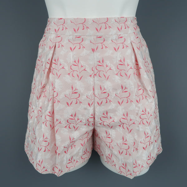 GIAMBATTISTA VALLI Size XS Pink Silk Blend Floral Jacquard Pleated Shorts