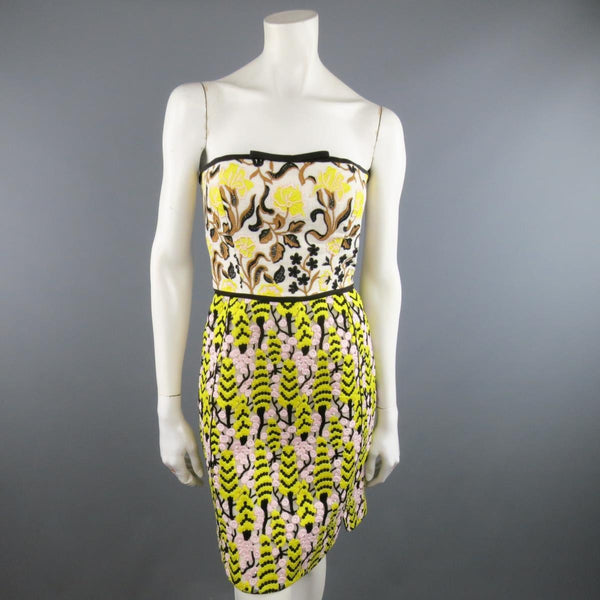 GIAMBATTISTA VALLI US 2 / IT 38 Yellow Pink & Beige Linen & Lace Cocktail Dress