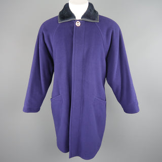 GIANNI VERSACE 36 Purple Wool Fur Collar Medusa Button Coat