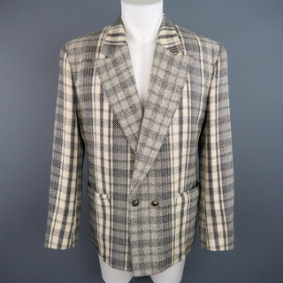 GIANNI VERSACE 40 Short Grey & Beige Plaid Wool Blend Double Breasted Jacket - Sui Generis Designer Consignment
