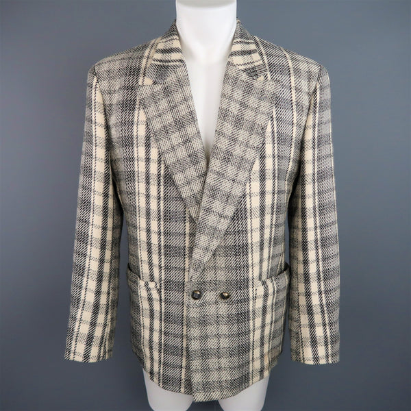 GIANNI VERSACE 40 Short Grey & Beige Plaid Wool Blend Double Breasted Jacket