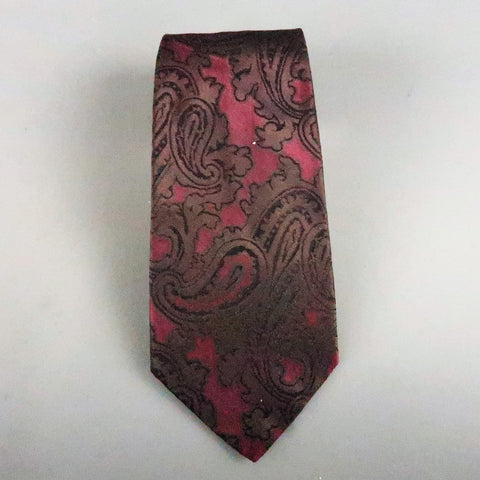 GIANNI VERSACE Burgundy Silk Brown Paisley Silk Tie