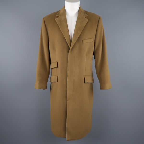GIANNI VERSACE M Olive Green Wool Suede Notch Lapel Hidden Placket Coat
