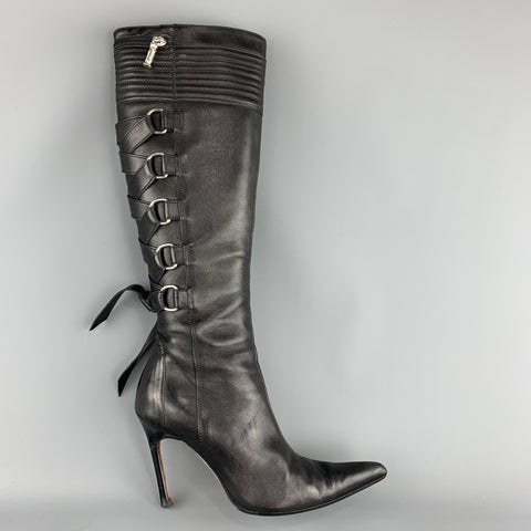 edce92738 GIANNI VERSACE Size 8 Black Corset Back Pointed Knee High Boots